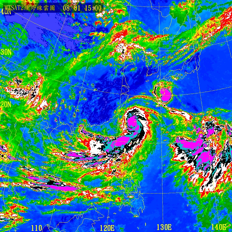 高解析强化红外卫星云图-双台风袭击华东 台风苏拉 台风达维最新路图片
