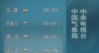 新闻联播天气预报今起预报钓鱼岛天气