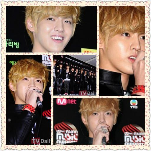 2012MAMA颁奖礼新闻发布会 EXO-M和EXO-K合体亮相 吴亦凡帅气卖