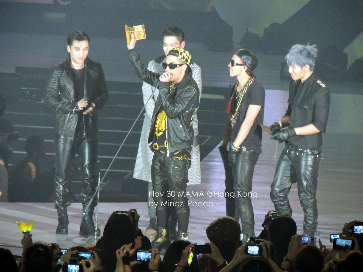 2012mama颁奖典礼现场 Bigbang权志龙金发开场红发领奖耀眼超高人