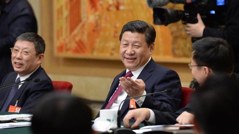 3月5日,中共中央总书记、国家主席、中央军委主席习近平参加十二届全国人大二次会议上海代表团的审议。