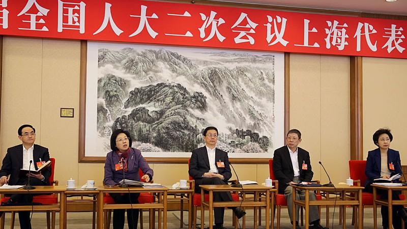 3月9日下午3点,十二届全国人大二次会议上海代表团将举行全体会议,审议全国人大常委会报告。韩正、杨雄、殷一璀、王乃坤、徐麟代表参加审