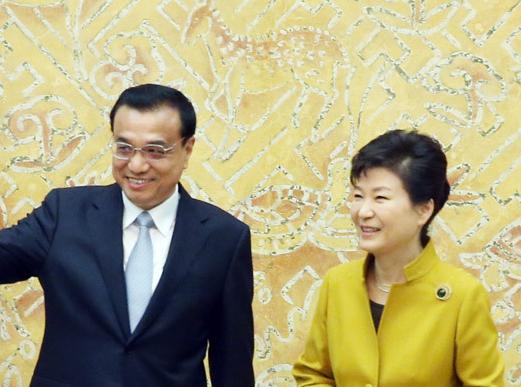 李克强同韩国总统朴槿惠举行会谈