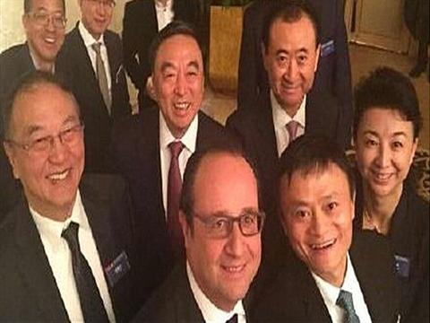法国总统奥朗德访华 与中国企业家俱乐部执行理事自拍