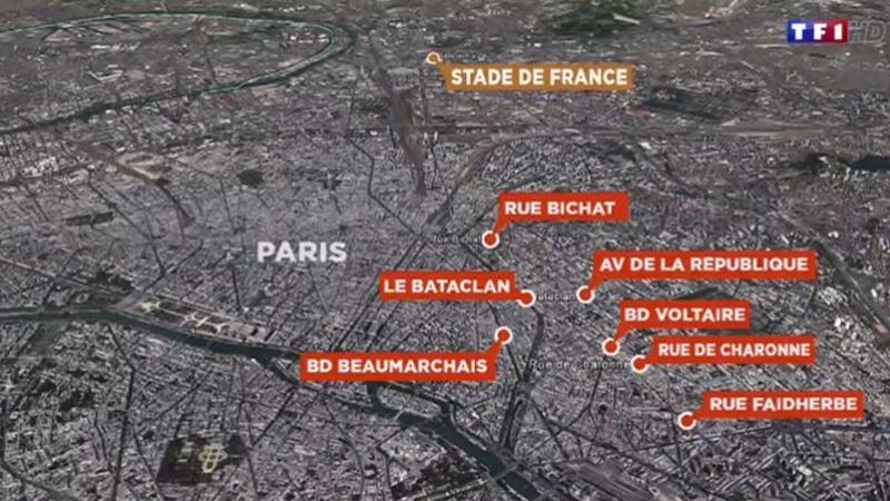 红色标注地点为巴黎市区内7处案发地.