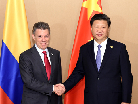 习近平会见哥伦比亚总统桑托斯