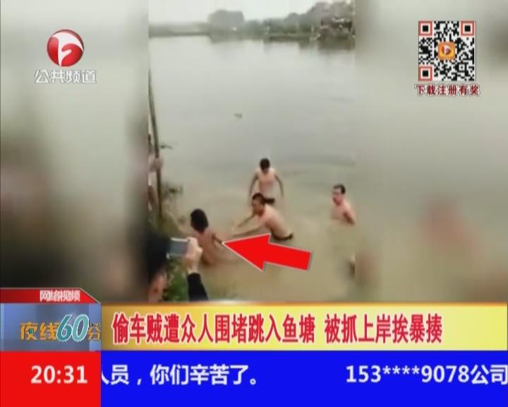 偷车贼遭众人围堵跳入鱼塘  被抓上岸挨暴揍
