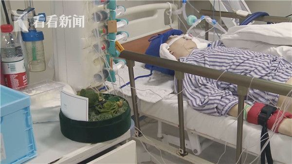 朱建峰躺在重症监护室里