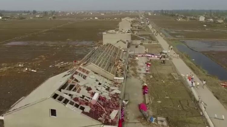 独家航拍视频:陈良重灾区 没有屋顶的村庄