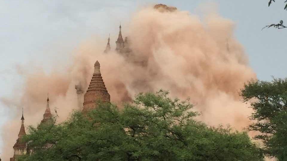 缅甸中部发生6.9级左右地震 有佛塔被震倒塌