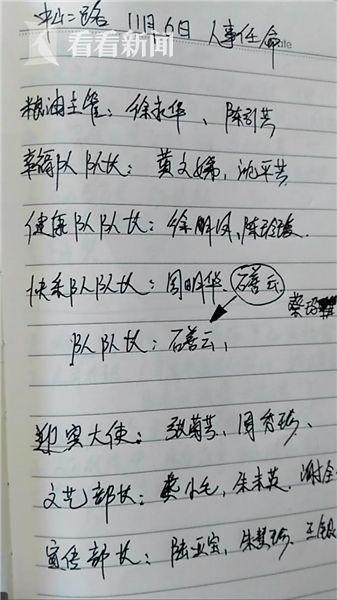 工作人员的工作笔记