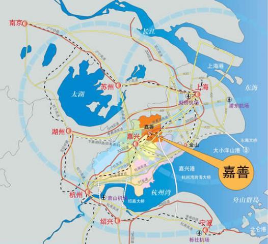 嘉善毗邻上海(地图)