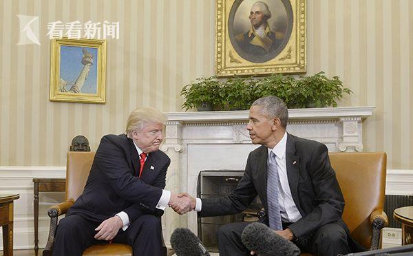 当地时间2016年11月10日,美国总统奥巴马在白宫与当选总统特朗普会面,商讨交接事宜。