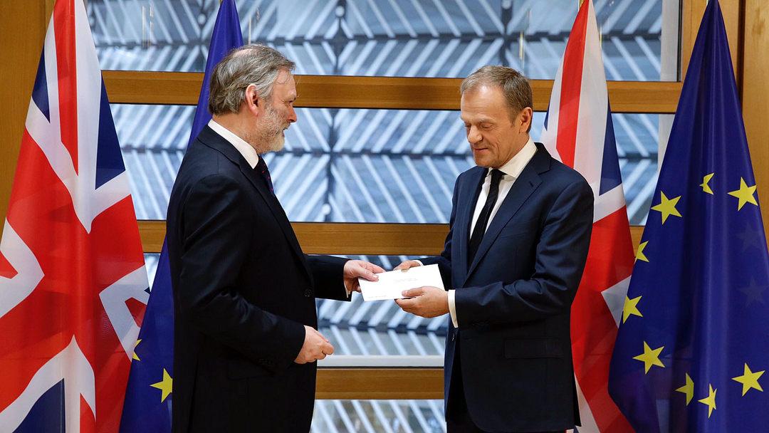 """驻欧盟大使递交信函 英国正式开启""""脱欧""""程序"""