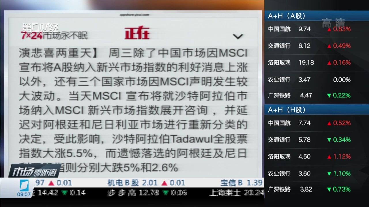 MSCI公布指数纳入决定  相关市场上演悲喜两重天