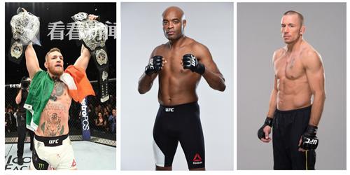 """UFC明星运动员1(从左到右分别是:""""嘴炮""""康纳-麦格雷戈、""""蜘蛛人""""安德森-席尔瓦、乔治-圣皮埃尔)"""