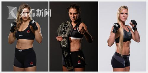 """UFC明星运动员2(从左到右分别是:隆达-罗西、乔安娜-耶德尔泽西克、""""牧师之女""""霍莉-霍尔姆)"""
