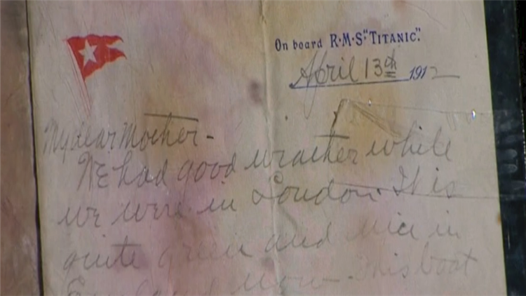 """视频  一字千金!""""泰坦尼克号""""乘客最后家书天价成交 写于沉船遇难前夕"""