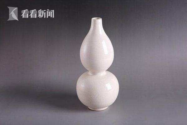 宋定窑划花葫芦瓶