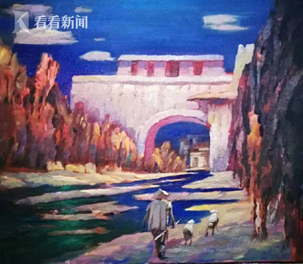 布面油画:古城新编 创作2017年10月