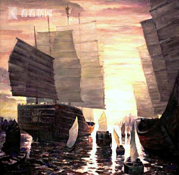 布面油画:中国商船来了 创作2014年7月