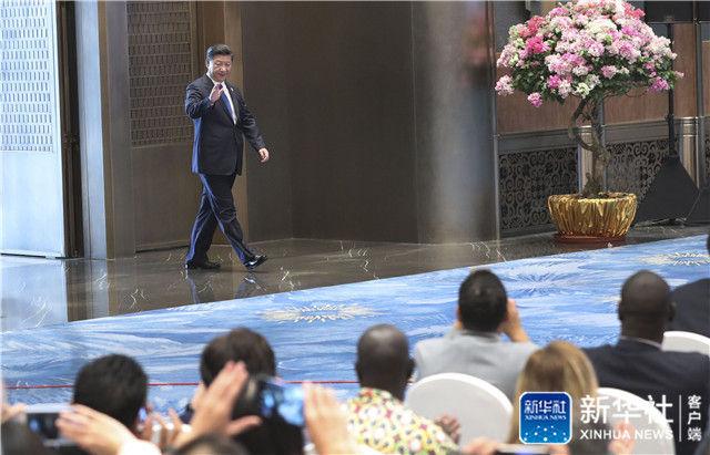 2017年9月5日,习近平在厦门国际会议中心会见中外记者,介绍金砖国家领导人第九次会晤和新兴市场国家与发展中国家对话会情况。新华社记者 庞兴雷 摄