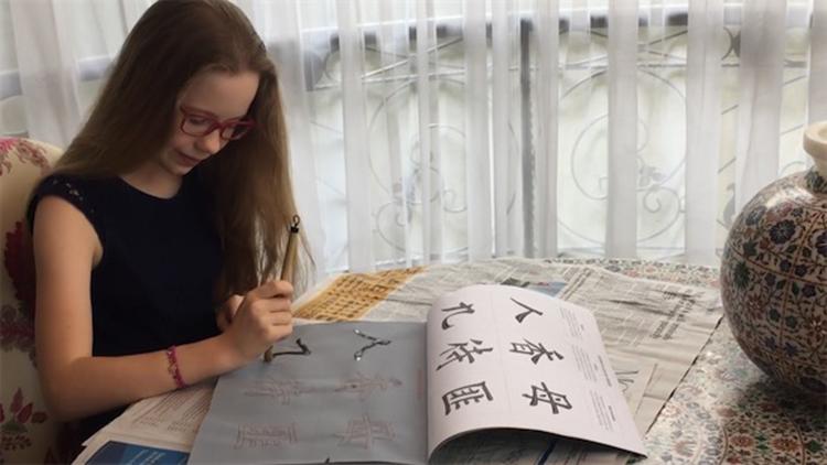 唐诗书法绕口令 金融大鳄罗杰斯女儿秀中文