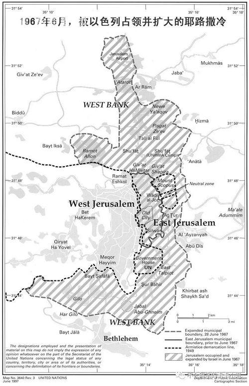 斜线部分的东耶路撒冷也被以色列控制