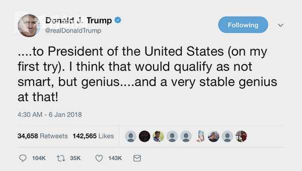 """特朗普在社交网络上强调自己是""""非常稳定的天才"""""""