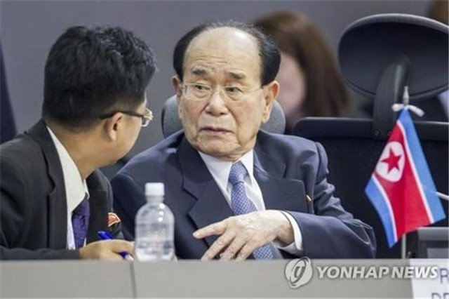 资料图片:朝鲜最高人民会议常委会委员长金永南。(图片来源:韩联社)