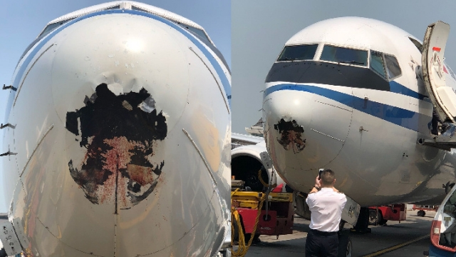 空中惊魂!国航客机抵达香港 机头惊现大洞