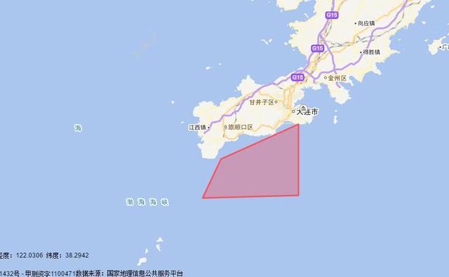 大连海事局禁航通告显示海域范围