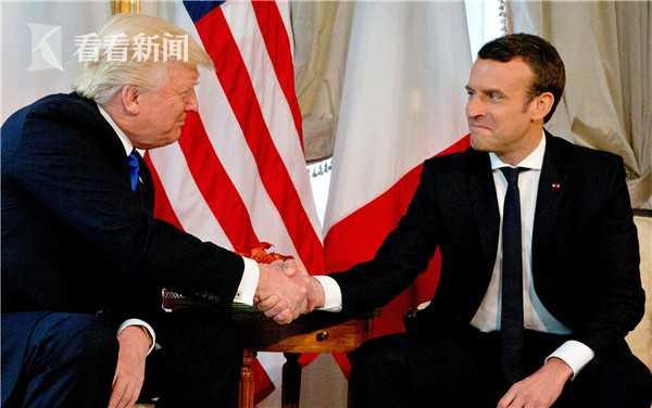 特朗普与马克龙的第一次会面