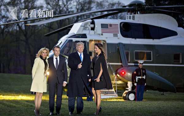 特朗普邀请马克龙搭乘总统直升机前往乔治·华盛顿的故居——弗农山庄共进晚餐