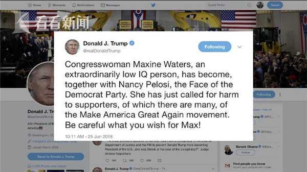 特朗普以更充满争议的方式回应,警告沃特丝说,你给我小心!