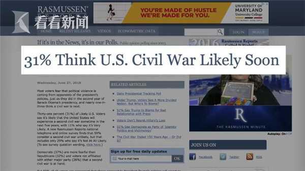 美国一家知名民调公司指出,31%的美国受访者担忧,美国可能在5年内爆发史上第二场内战