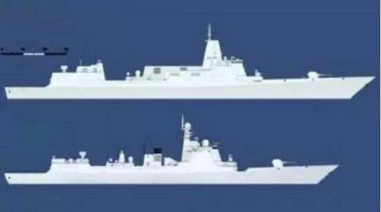 055与052D舰体大小比较