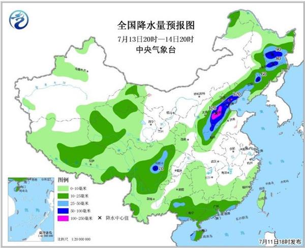全国降水量预报图(7月13日20时-14日20时)