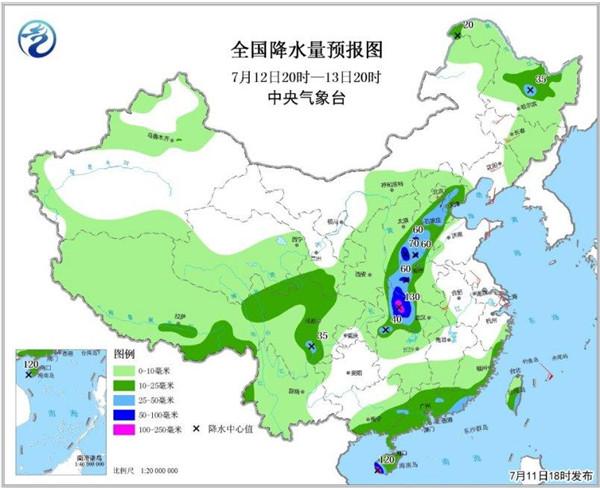全国降水量预报图(7月12日20时-13日20时)