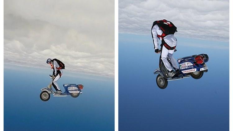 奥地利特技狂人空中骑摩托 至少6台摄像机跟拍