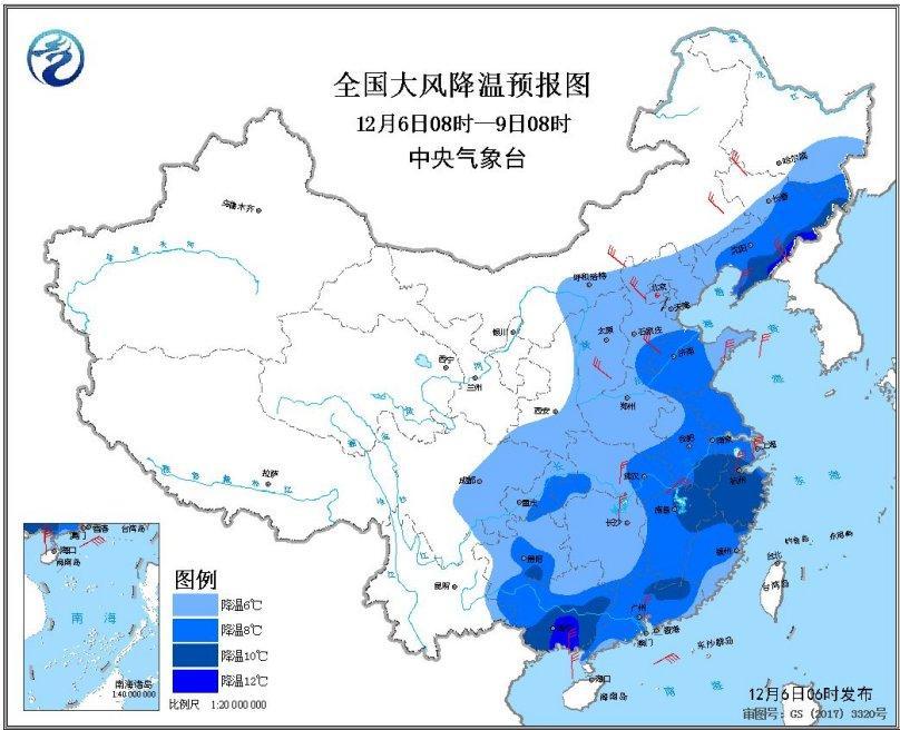 图1全国大风降温预报图(12月6日08时-9日08时)
