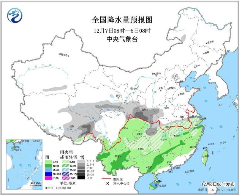 图4 全国降水量预报图(12月7日08时-8日08时)