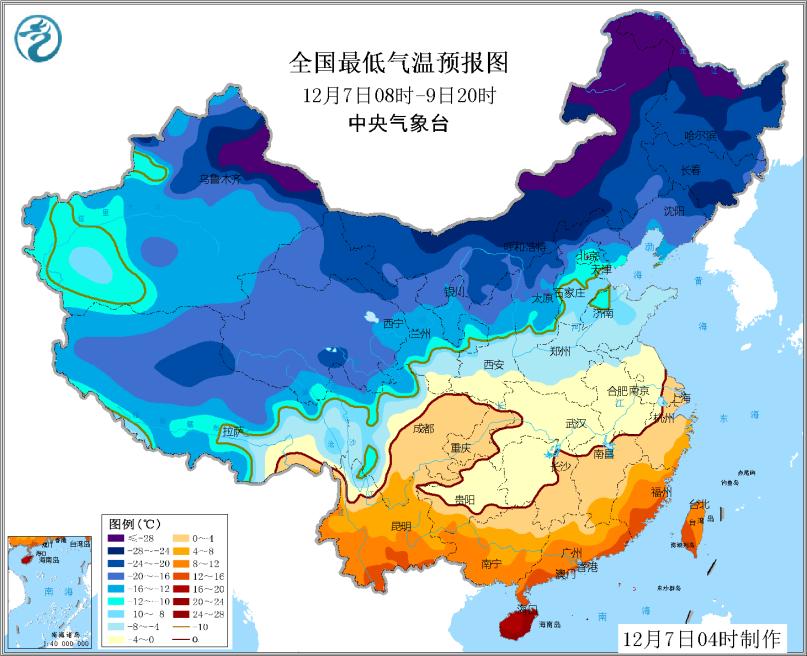 图2全国最低气温预报图(12月7日08时-9日20时)