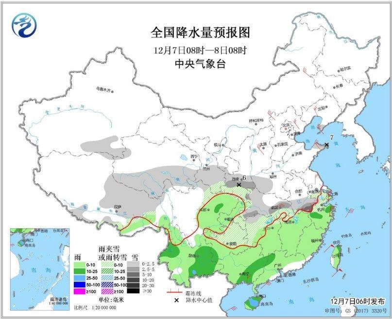 图3 全国降水量预报图(12月7日08时-8日08时)