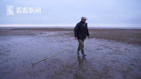 晨光熹微中的金伟国,他身后不远处就是长江和东海的交汇处
