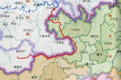 赤水河(红色)与长江(蓝色)