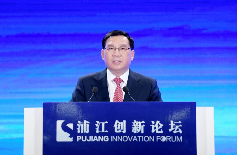 图为上海市委书记李强在开幕式暨全体大会上讲话