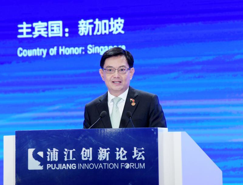 图为新加坡副总理兼财政部长王瑞杰作主旨演讲