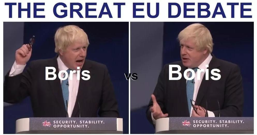網友拿鮑里斯開玩笑,他在公投前后對于脫歐的態度變化,足夠可以自己和自己辦一場辯論了.jpg