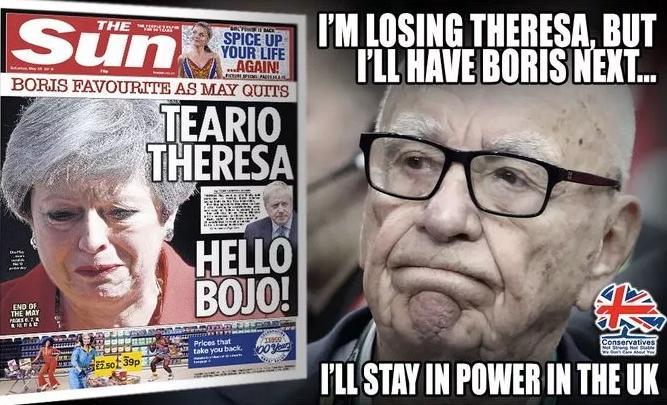 """對于英國政治,默多克的影響力始終存在。正因為如此,他控制的媒體""""嗅覺一流""""。梅姨宣布辭職的當天,《太陽報》已經喊出了""""你好,鮑里斯!"""".jpg"""
